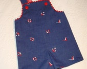 Ready to Ship Nautical Shortall trimmed in Red Rick Rack 18 to 24 months