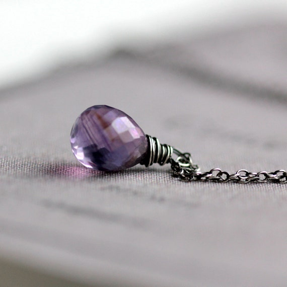 Mystic Purple Quartz Necklace on Oxidized and Polished Sterling Silver Chain - Crocus