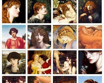 2x2 inches square tiles - Pre-Raphaelite - A4 Digital Collage Sheet - For unlimited prints