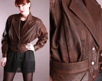 Vintage Christian Dior Brown Leather Jacket Small Cropped Corset Peplum 80s 90s