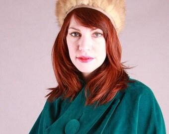 Vintage Pastel Mink Fur Hat 50s 60s Hollywood Glam