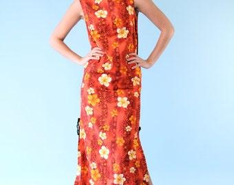 Vintage Dress Hawaiian Maxi Tank S M Floral Red Orange