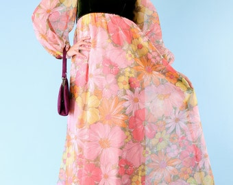 Vintage Maxi Dress Ethereal Chiffon Floral Goddess Boho Hippie Small Medium