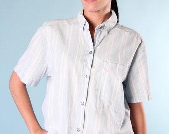 Vintage 90s Denim Blue White Striped Blouse Shirt Top Button Up Short Sleeved Paris Sport Club
