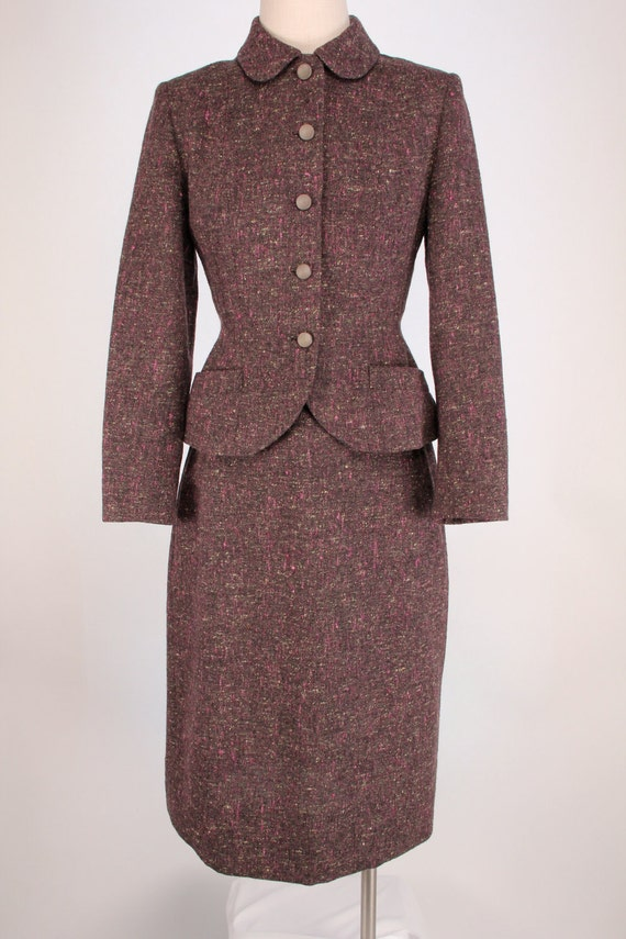 Vintage 1940s Irish Wool Tweed Suit Skirt Jacket xs s Plum Purple Hourglass