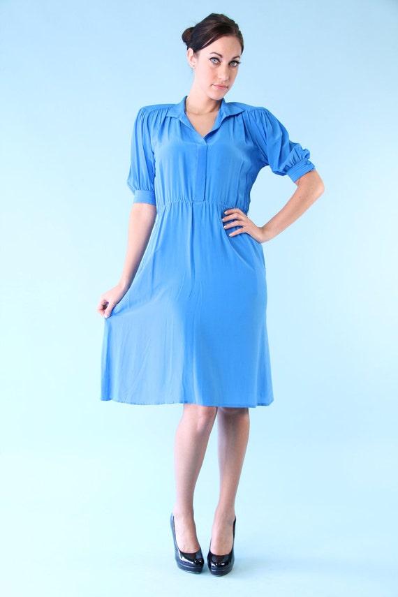 Vintage 80s Day Dress Tropical Sea Blue Silk Secretary Frock Small