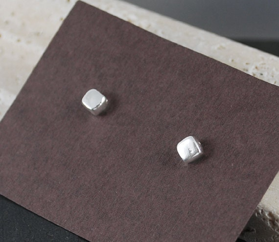 Square Stud Earrings - Titanium Post Earrings - .999 Silver Cube Hypoallergenic Eco Friendly Recycled Silver Earrings