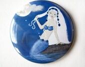Mermaid pocket mirror, purse accessory, white and blue, night, girl