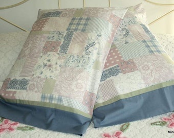 Pillowcase Pair, Eco Friendly, Blue Dusty Rose and Green , Vintage Sheeting
