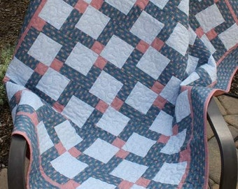 SALE. Baby or Lap Quilt,  Disappearing Nine Patch, Blue Pink