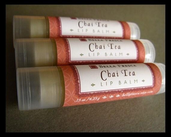 ON SALE - Chai Tea Lip Balm -- Handmade Shea Butter Lip Balm -- Bath and Beauty