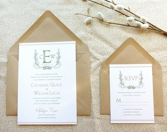 Noble Wreath and Ribbon Winter Wedding Invitations - Woodland Wedding - Nature Wedding
