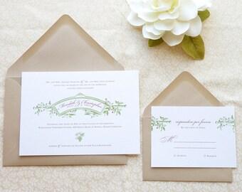 Sangiovese, Vineyard Wedding Invitations - Italian Wedding - Napa Valley Wedding - Rustic Wedding - Wine Country
