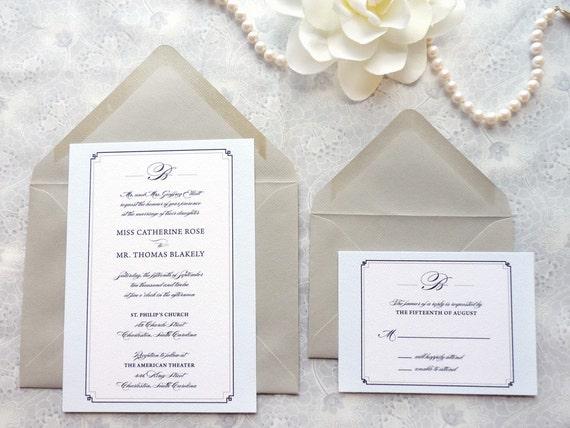Kensington Winter Wedding Invitations - Black Tie Wedding - Formal Wedding - Classic Wedding
