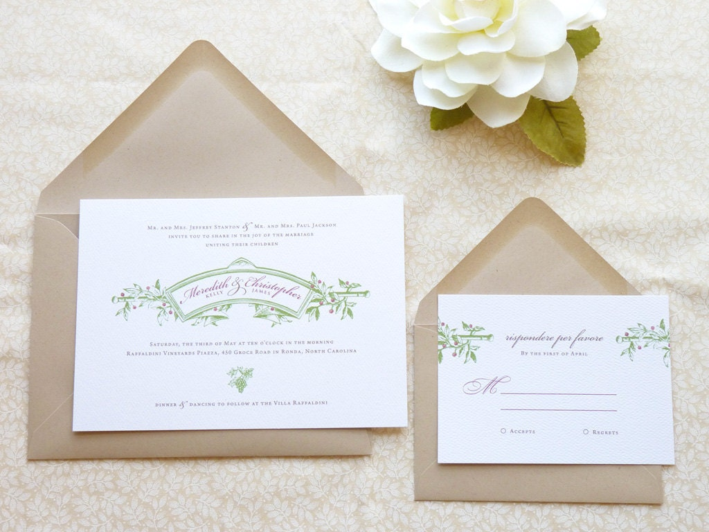 Tuscan Themed Wedding Invitations: Sangiovese Vineyard Wedding Invitations Italian By Merrymint