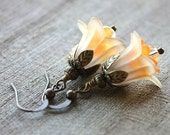 Flower Dangle Earrings, Yellow and Orange Lucite Bells, Antique Brass - DAFFODILS