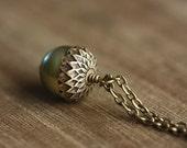 Necklace, Acorn Pendant,  White Swarovski Pearl, 18 Inch Chain - GREEN ACORN