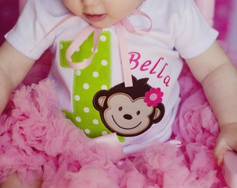 Mod Monkey Girls First Birthday Shirt...Mod Monkey Birthday Shirt...Second Birthday Shirt...Third Birthday Shirt...Mod Monkey Birthday