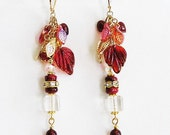 Red Carnelian and Glass Long Dangle 14KGF Earrings