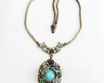 Art Deco Aqua Glass Pendant Necklace