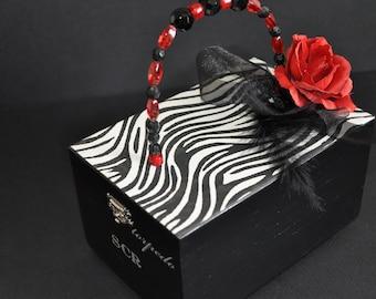 Zebra Print Purse, Small Cigar Box Purse, Red Rose, party handbag, teen girl