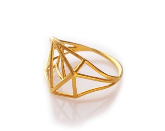 Geometric Ring, Brass Ring, Architecture Structure Ring, Geometric Jewelry, Geo Jewelry, For Her, Architecture Design, Unique Ring