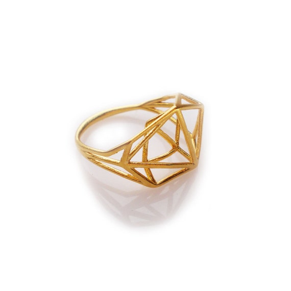 Geometric ring architectural structure gold ring by for Geometric wedding ring