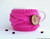 Coffee Mug Cozy, Coffee Cup Sleeve, Coffee Cup Cozy, Tea Cozy, Coffee Cozy, Knit Cup Cozy, Coffee Sleeve, Neon Pink
