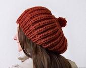 Womens Slouchy Beanie Hat, Womens Hats, Knit Slouchy Hat, Knit Slouch Hat, Pom Pom Hat, Ladies Winter Hats, Womens Winter Hat, Oversized Hat