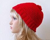 Red Hat, Pom Pom Hat, Winter Knit Hat, Chunky Beanie, Slouchy Beanie, Winter Hat, Ski Hat, Womens Hat, Mens Hat, Mens Slouchy Hat, Wool Hat