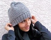 Hand Knit Hat, Chunky Hat, Pom Pom Hat, Knit Womens Hat, Mens Hat, Chunky Knit Hat, Winter Hat, Ski Hat