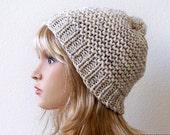 Womens Pom Pom Hat, Knit Pom Hat, Chunky Knit Hat, Womens Winter Hats, Mens Winter Hat, Mens Slouchy Beanie, Mens Slouch Beanie, Chunky Hat