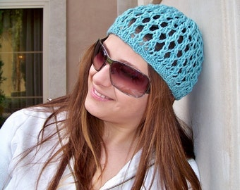 Knit Hat Pattern, Knitting Pattern Hat, Summer Hats Women, Summer Beanie, Bohemian Hat, Boho Hat, Knit Patterns, Lightweight Beanie