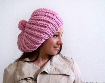 Valentines Hat, Valentines Knit Hat, Chunky Knit Hat with Pom Pom Hat, Pink Hat, Womens Slouchy Beanie, Pink Beanie, Slouchy Hat, Slouch Hat