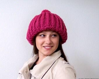 Knit Hat Women, Chunky Knit Hat With Pom Pom, Womens Slouchy Hat, Womens Slouch Hat, Slouch Beanie, Slouchy Beanie, Pink Beanie, Pink Hat