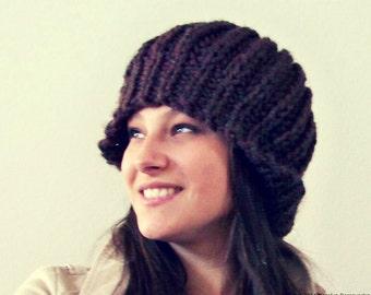 Knit Hat, Knit Beret Hat, Knit Slouchy Hat, Wool Hat, Chunky Knit Hat, Knit Slouch Hat, Womens Slouchy Beanie, Chunky Hat, Knit Winter Hat