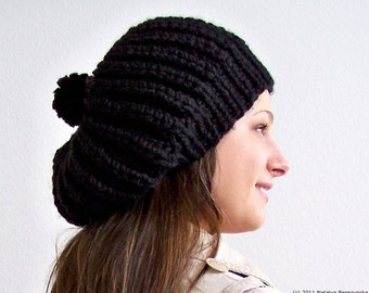 Knit Hat with Pom Pom Hat, Black Slouchy Beanie Hat, Chunky Knit Hat, Black Hat, Black Beanie, Knit Slouchy Hat,  Knit Slouchy Beanie