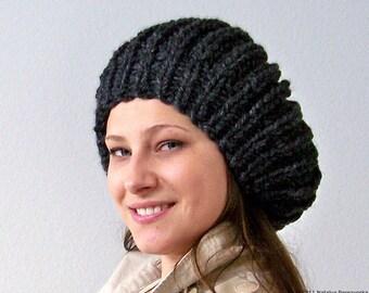 Knit Hat With Pom Pom Hat, Black Hat, Black Beanie, Black Slouchy Beanie Hat, Womens Slouchy Hat, Winter Hat, Pom Beanie, Chunky Knit Hat