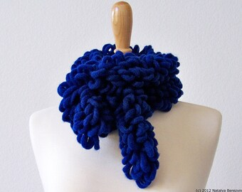 Chunky Scarf Knit Chunky Crochet Scarf Wool Scarf Crochet Ruffle Scarf Crochet Chunky Scarf Womens Scarves Blue Scarf Winter Scarf