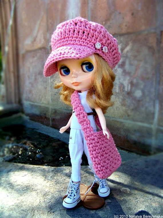 Blythe Hat and Bag Set, Blythe Newsboy Hat and Bag Set in Pink Blush, Doll Hat, Doll Bag, Blythe Crochet