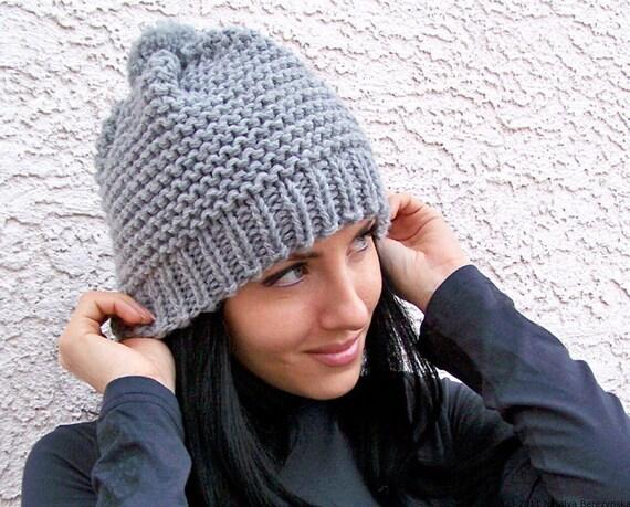 Knit Hat With Pom Pom Chunky Knit Beanie Hat Slouchy Beanie Hat Slouch Hat Slouch Beanie Slouchy Hat Knit Slouch Hat Chunky Knit Hat Pom