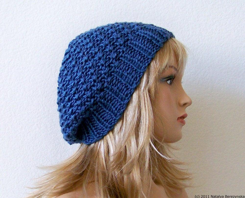 Knitting Hats : Knit hat womens hats blue slouchy