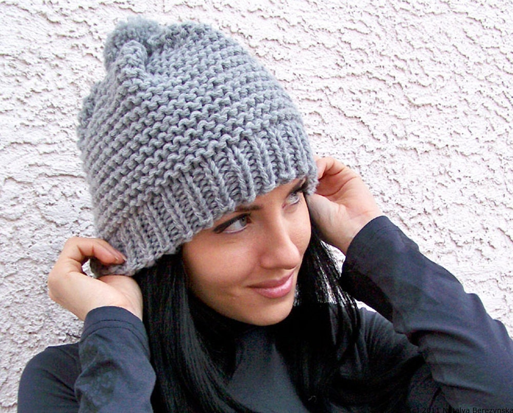 Knitting Patterns Ladies Winter Hats : Knit Hat With Pom Pom Hat Chunky Knit Hat Slouchy Beanie