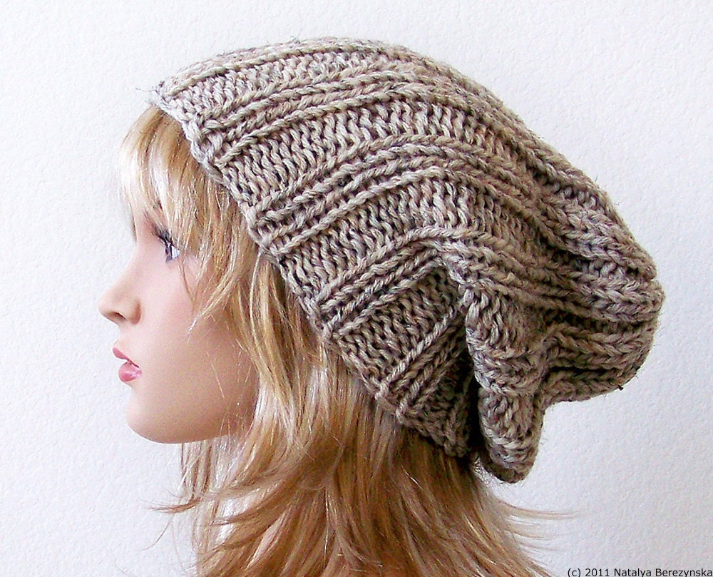 Knitting Pattern For Beanie : Knit Hat Women Knit Hat Mens Slouchy Beanie Hat Mens Slouchy
