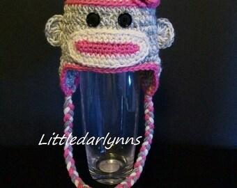 Sock Monkey Hat Gray Grey & Pink Animal Beanie Crochet with Flower Ear flaps Braids Newborn Baby girl Toddler Teen Adult Photo Prop