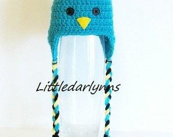 Bluebird Baby Hat Beanie Turquoise Blue Ear Flaps Braids Crochet Handmade Gender Neutral Newborn 3 6 9 12 24 month sizes Infant Photo Prop