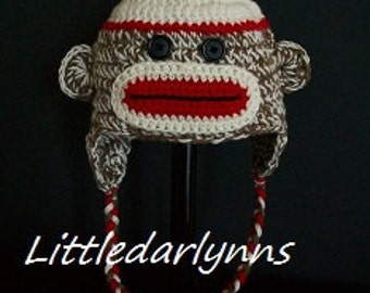 Sock Monkey Hat Beanie Ear Flaps Braids Crochet Gender Neutral All Sizes Newborn to Adult Custom Made Photo Prop