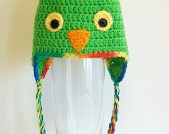 Green Parrot Hat Bird Beanie With Ear Flaps Braids Crochet Handmade Gender Neutral Newborn Baby Toddler Teen Adults Photo Prop