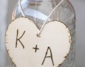 SET OF 12 Wedding Centerpiece Charms Wood Hearts With Engraved Initials