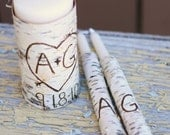Personalized Unity Candle Set Rustic Birch Bark